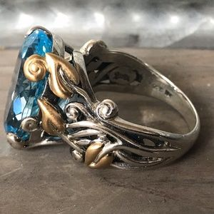 Barbara Bixby Blue Topaz Vine SS 18K Gold Size 9